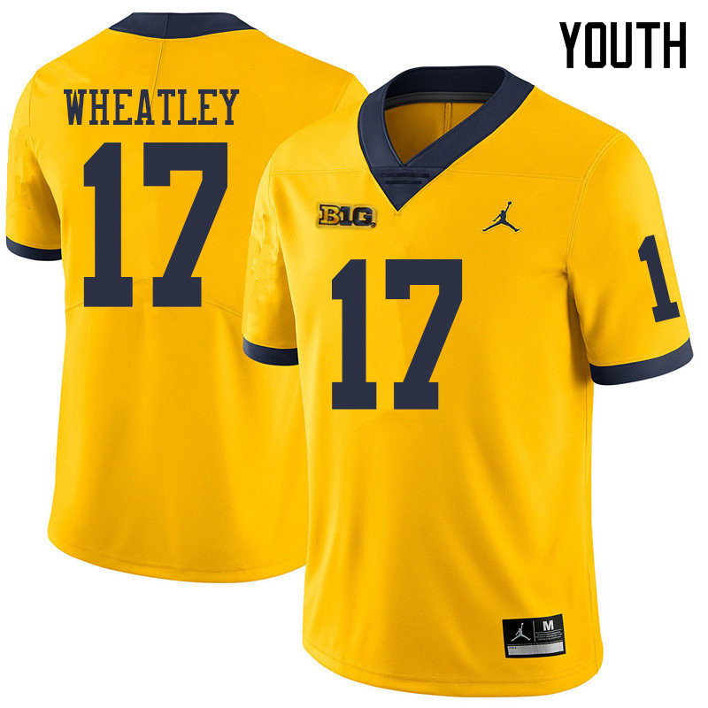 Jordan Brand Youth #17 Tyrone Wheatley Michigan Wolverines College Football Jerseys Sale-Yellow