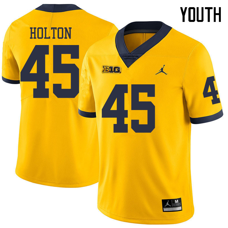 Jordan Brand Youth #45 William Holton Michigan Wolverines College Football Jerseys Sale-Yellow