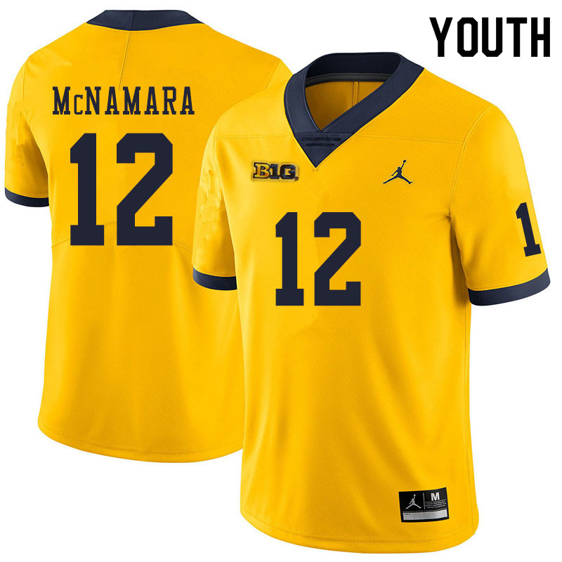 Youth #12 Cade McNamara Michigan Wolverines College Football Jerseys Sale-Yellow