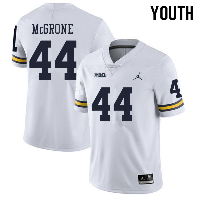 Youth #44 Cameron McGrone Michigan Wolverines College Football Jerseys Sale-White