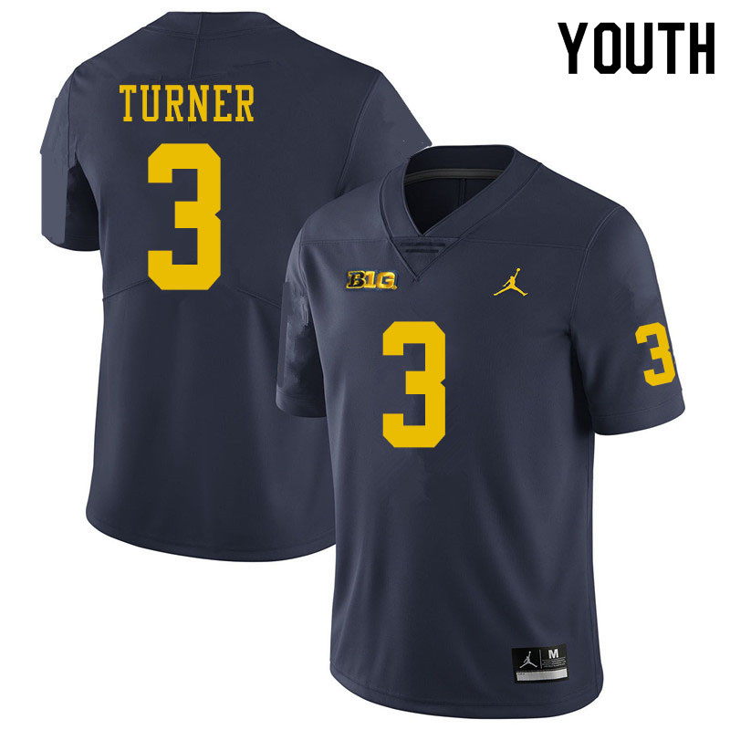 Youth #3 Christian Turner Michigan Wolverines College Football Jerseys Sale-Navy