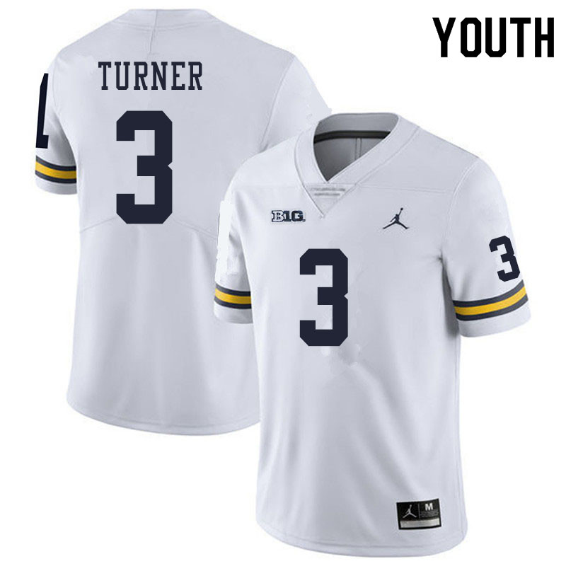 Youth #3 Christian Turner Michigan Wolverines College Football Jerseys Sale-White
