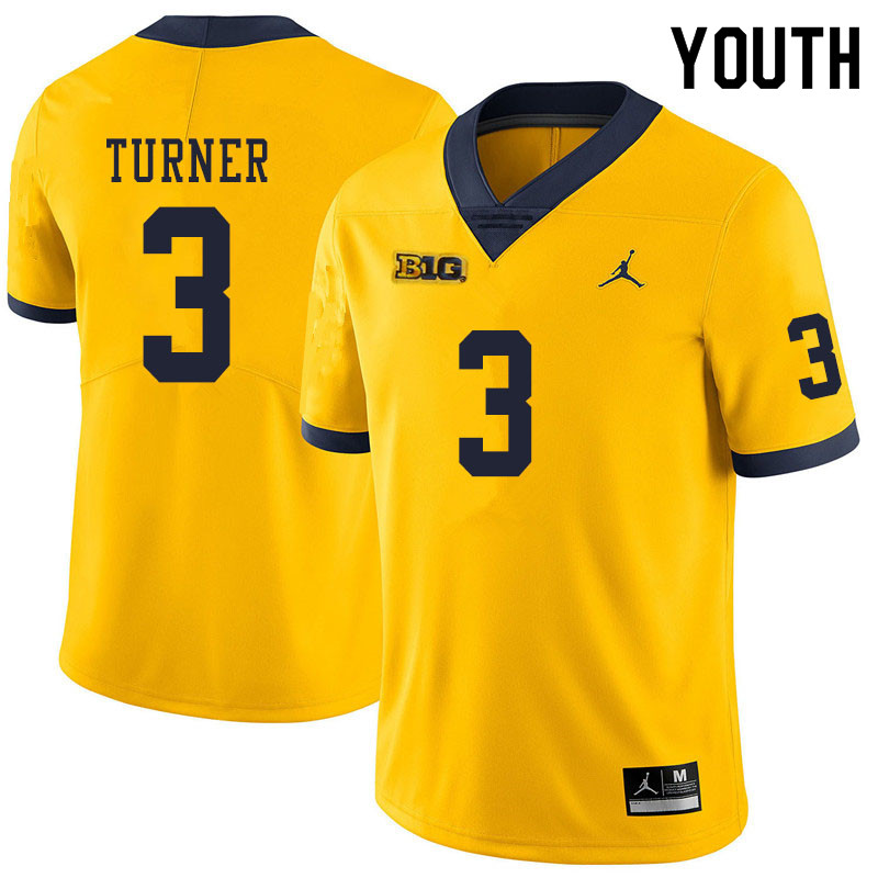 Youth #3 Christian Turner Michigan Wolverines College Football Jerseys Sale-Yellow