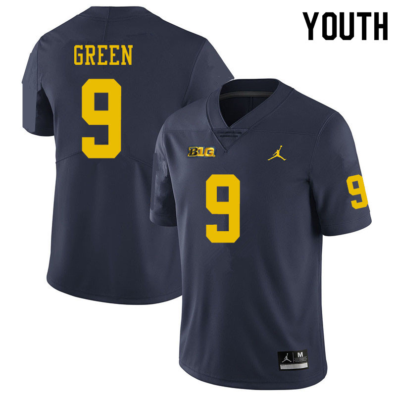 Youth #9 Gemon Green Michigan Wolverines College Football Jerseys Sale-Navy