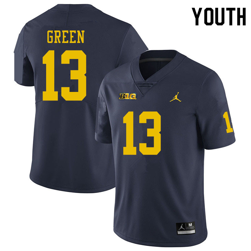 Youth #13 German Green Michigan Wolverines College Football Jerseys Sale-Navy