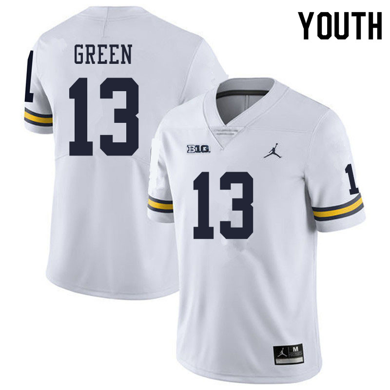 Youth #13 German Green Michigan Wolverines College Football Jerseys Sale-White