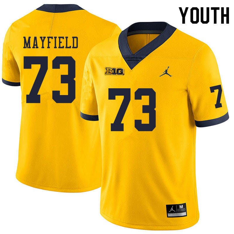 Youth #73 Jalen Mayfield Michigan Wolverines College Football Jerseys Sale-Yellow