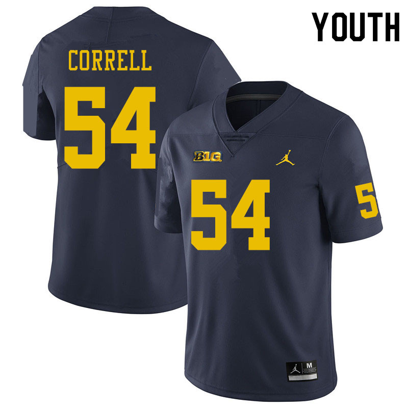 Youth #54 Kraig Correll Michigan Wolverines College Football Jerseys Sale-Navy