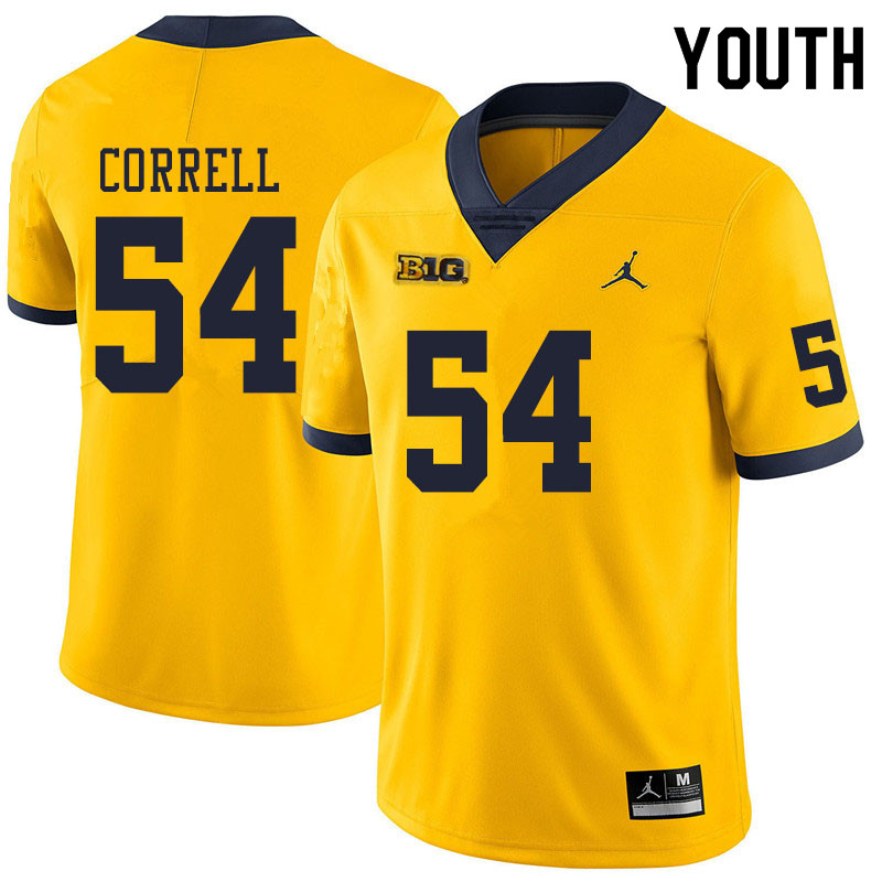 Youth #54 Kraig Correll Michigan Wolverines College Football Jerseys Sale-Yellow
