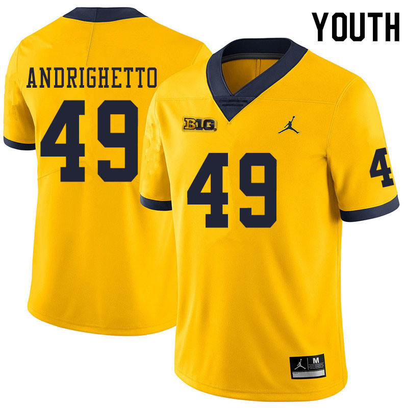 Youth #49 Lucas Andrighetto Michigan Wolverines College Football Jerseys Sale-Yellow