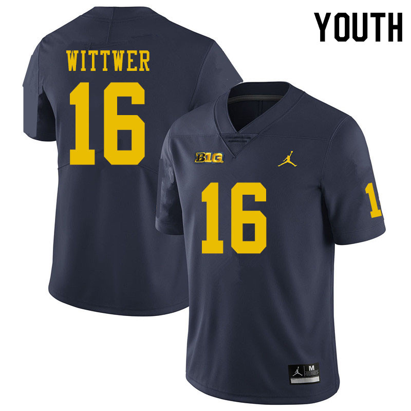Youth #16 Max Wittwer Michigan Wolverines College Football Jerseys Sale-Navy