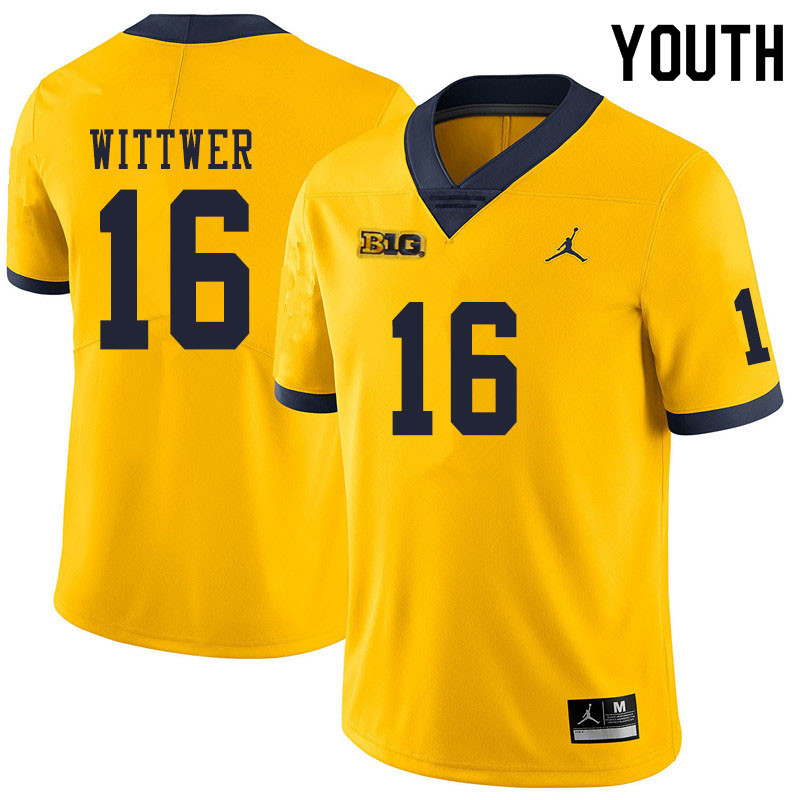 Youth #16 Max Wittwer Michigan Wolverines College Football Jerseys Sale-Yellow