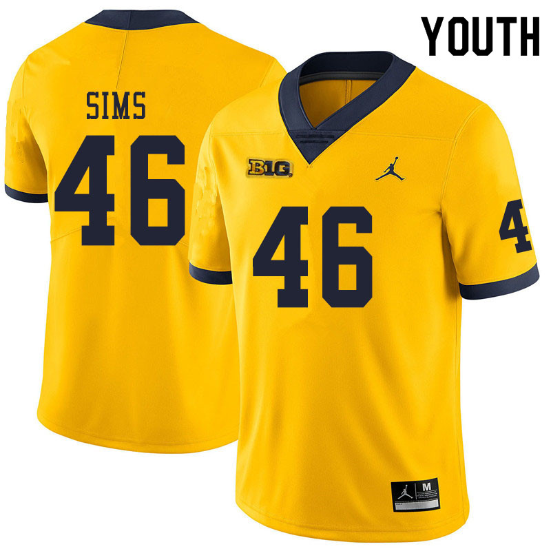 Youth #46 Myles Sims Michigan Wolverines College Football Jerseys Sale-Yellow