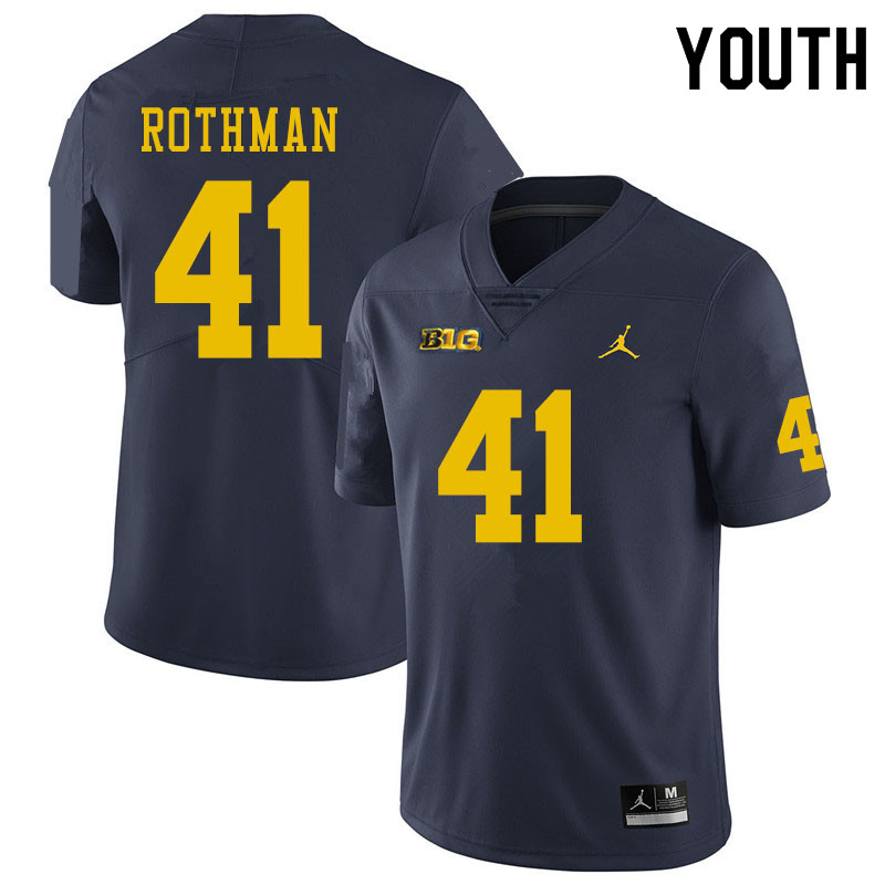 Youth #41 Quinn Rothman Michigan Wolverines College Football Jerseys Sale-Navy