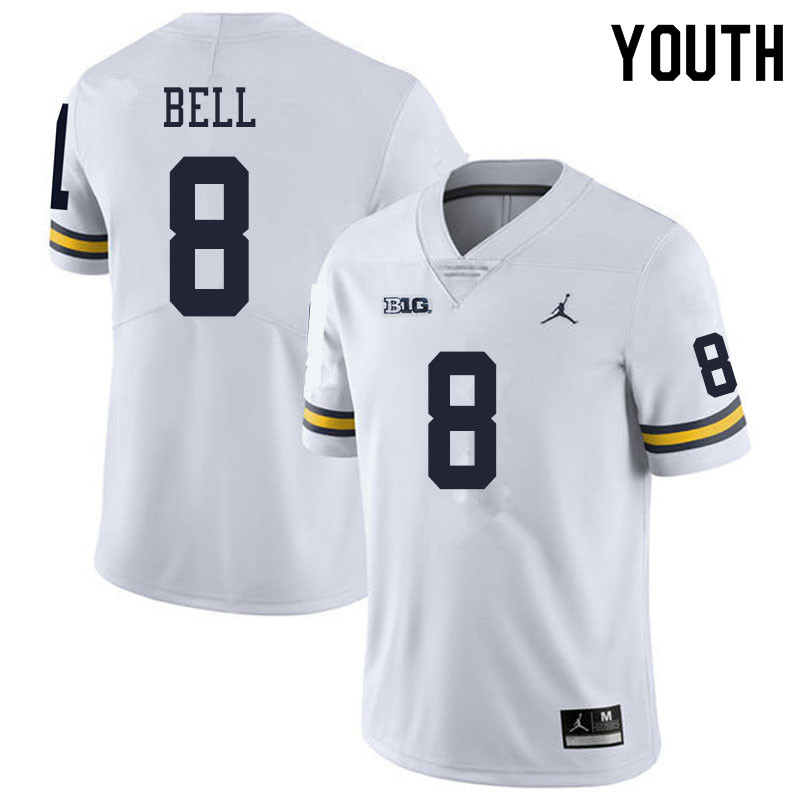 Youth #8 Ronnie Bell Michigan Wolverines College Football Jerseys Sale-White