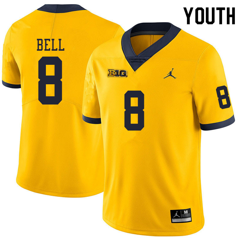 Youth #8 Ronnie Bell Michigan Wolverines College Football Jerseys Sale-Yellow