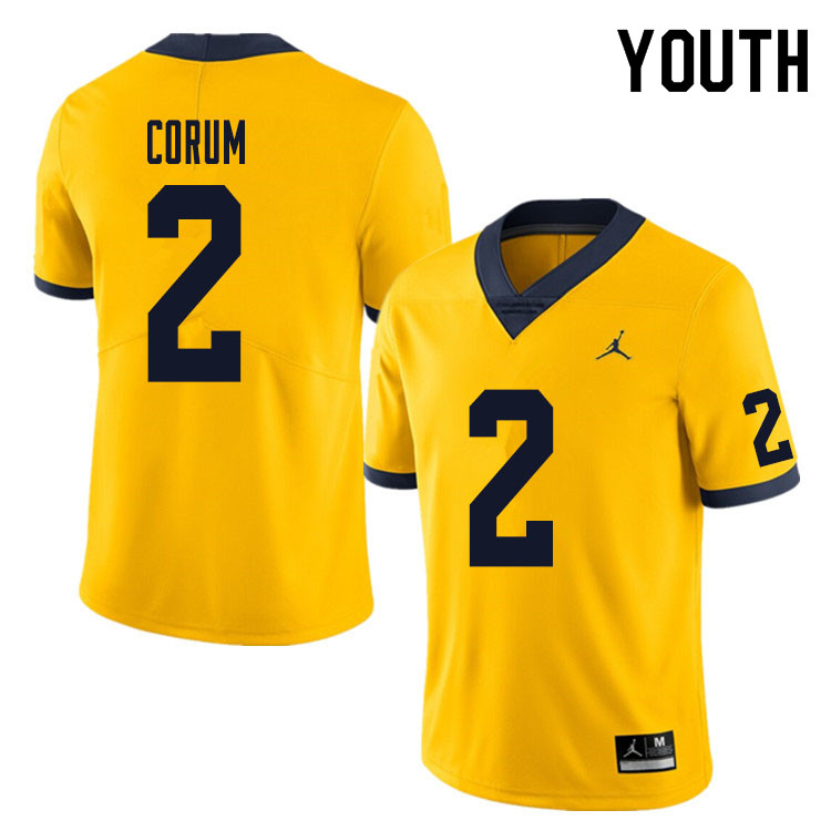 Youth #2 Blake Corum Michigan Wolverines College Football Jersey Sale-Yellow