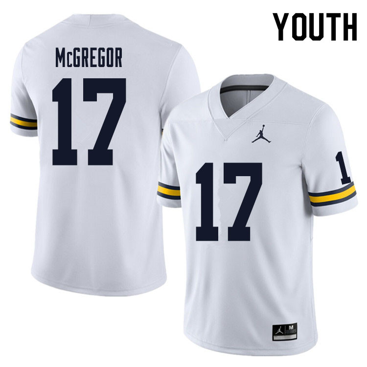 Youth #17 Braiden McGregor Michigan Wolverines College Football Jersey Sale-White
