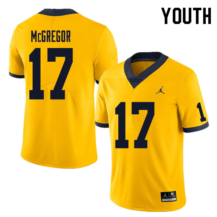 Youth #17 Braiden McGregor Michigan Wolverines College Football Jersey Sale-Yellow