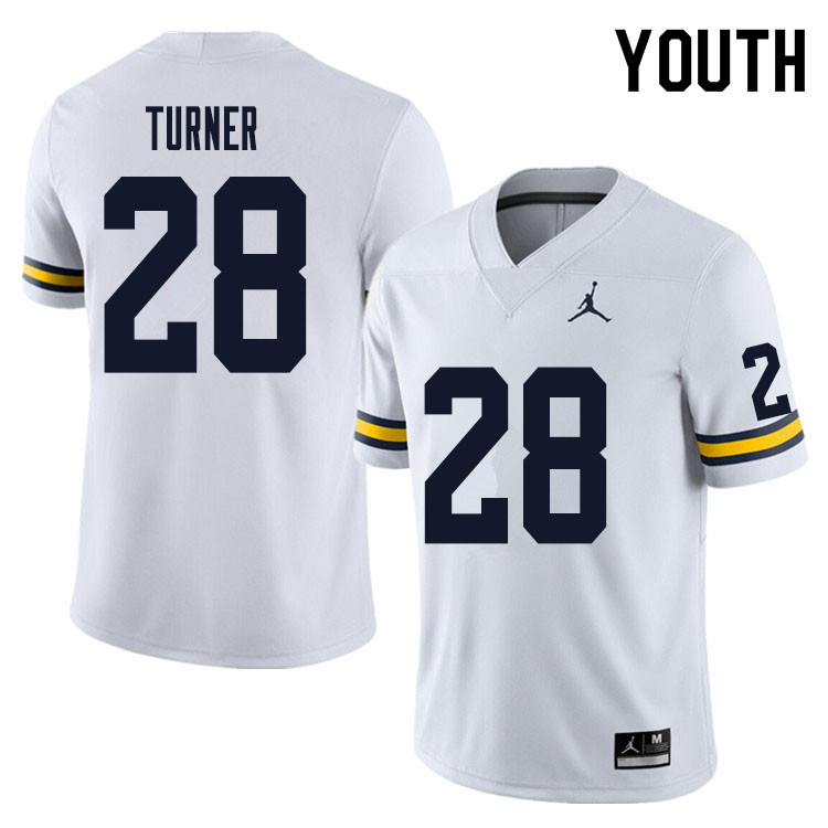 Youth #28 Christian Turner Michigan Wolverines College Football Jersey Sale-White