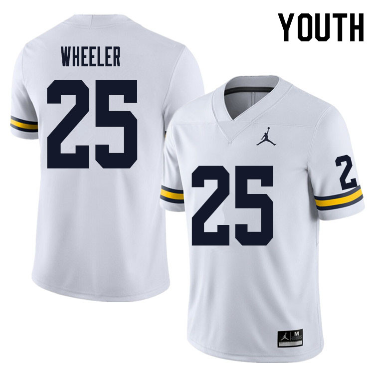 Youth #25 Cornell Wheeler Michigan Wolverines College Football Jersey Sale-White