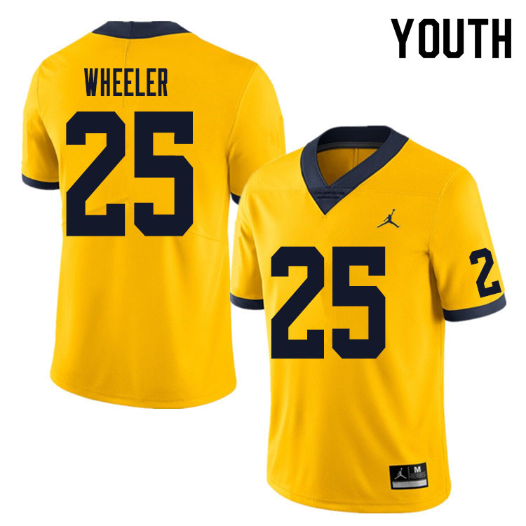 Youth #25 Cornell Wheeler Michigan Wolverines College Football Jersey Sale-Yellow