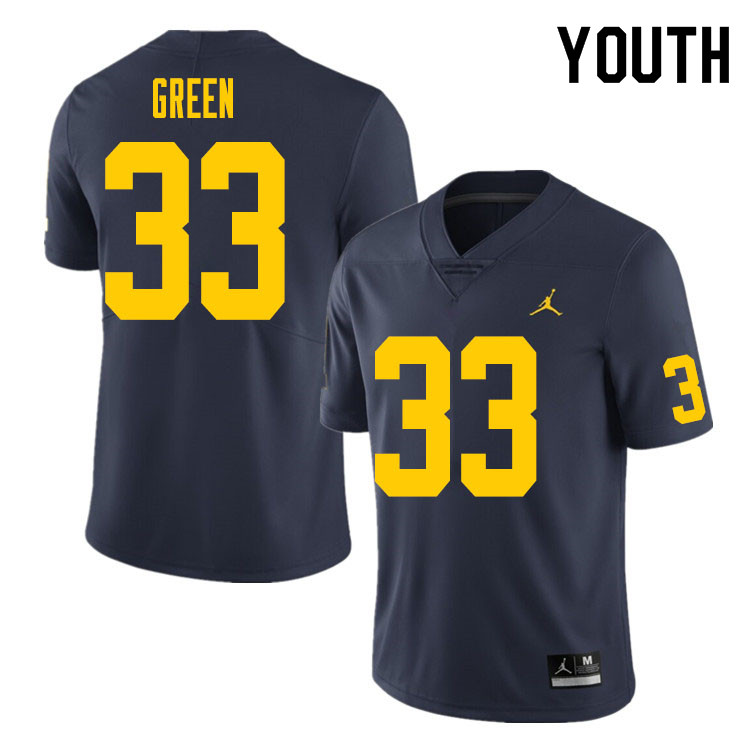 Youth #33 German Green Michigan Wolverines College Football Jersey Sale-Navy
