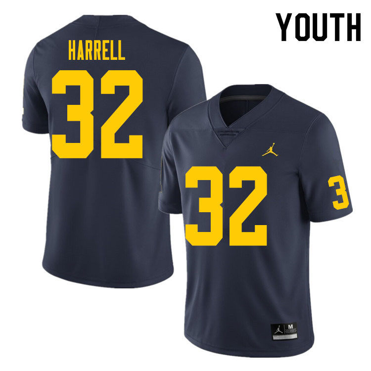 Youth #32 Jaylen Harrell Michigan Wolverines College Football Jersey Sale-Navy