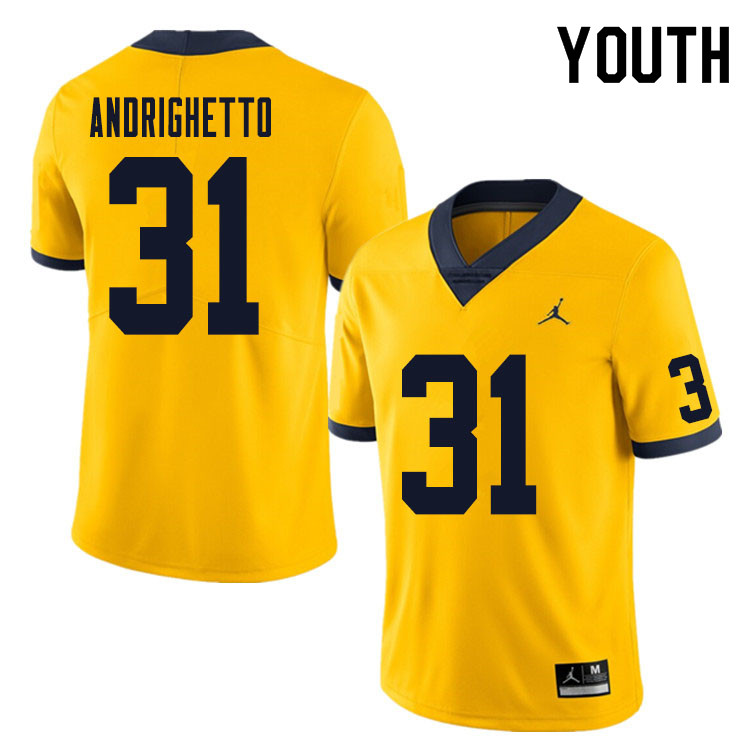 Youth #31 Lucas Andrighetto Michigan Wolverines College Football Jersey Sale-Yellow