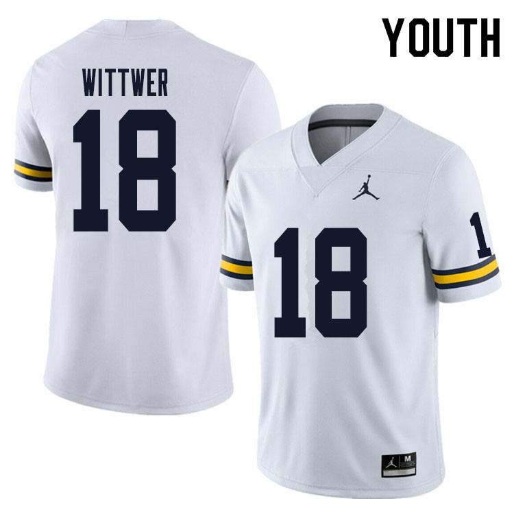Youth #18 Max Wittwer Michigan Wolverines College Football Jersey Sale-White