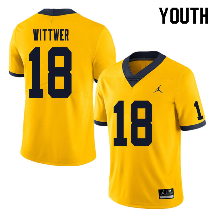 Youth #18 Max Wittwer Michigan Wolverines College Football Jersey Sale-Yellow