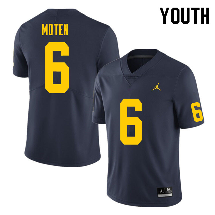 Youth #6 R.J. Moten Michigan Wolverines College Football Jersey Sale-Navy