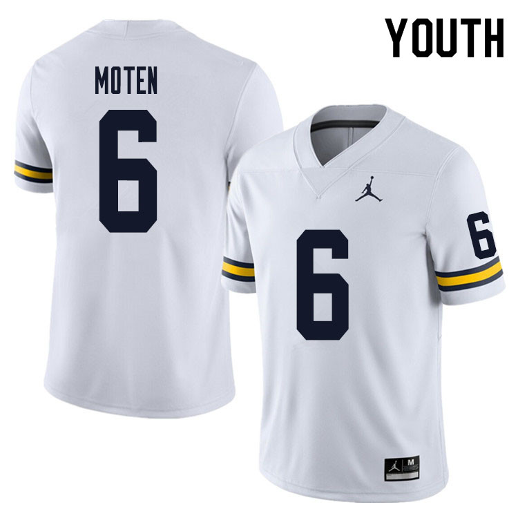 Youth #6 R.J. Moten Michigan Wolverines College Football Jersey Sale-White