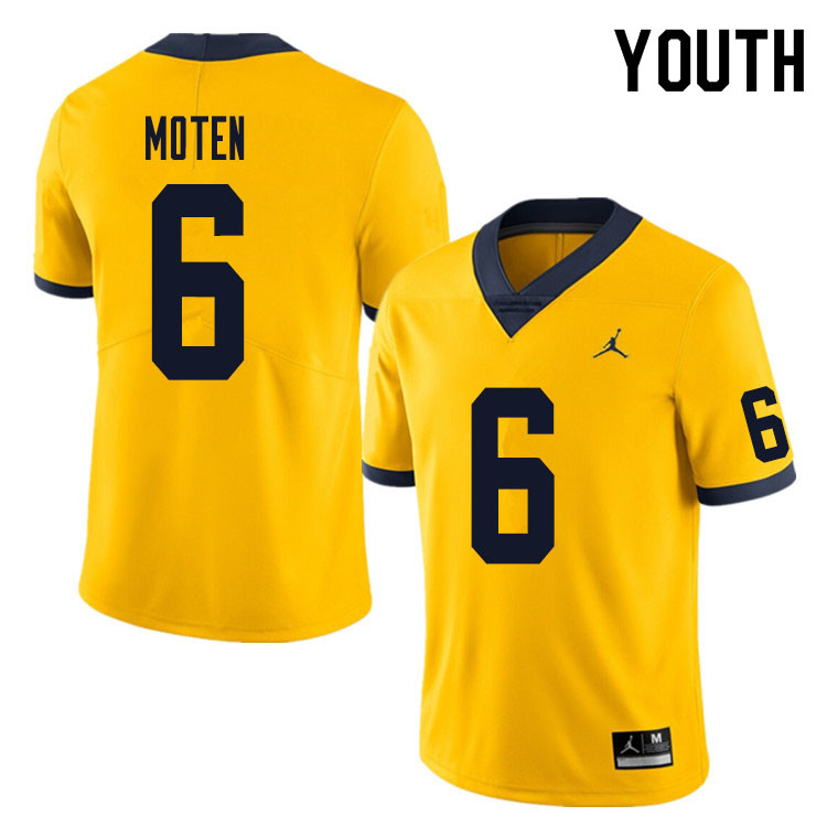 Youth #6 R.J. Moten Michigan Wolverines College Football Jersey Sale-Yellow