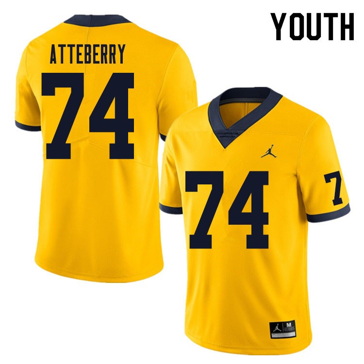 Youth #74 Reece Atteberry Michigan Wolverines College Football Jersey Sale-Yellow