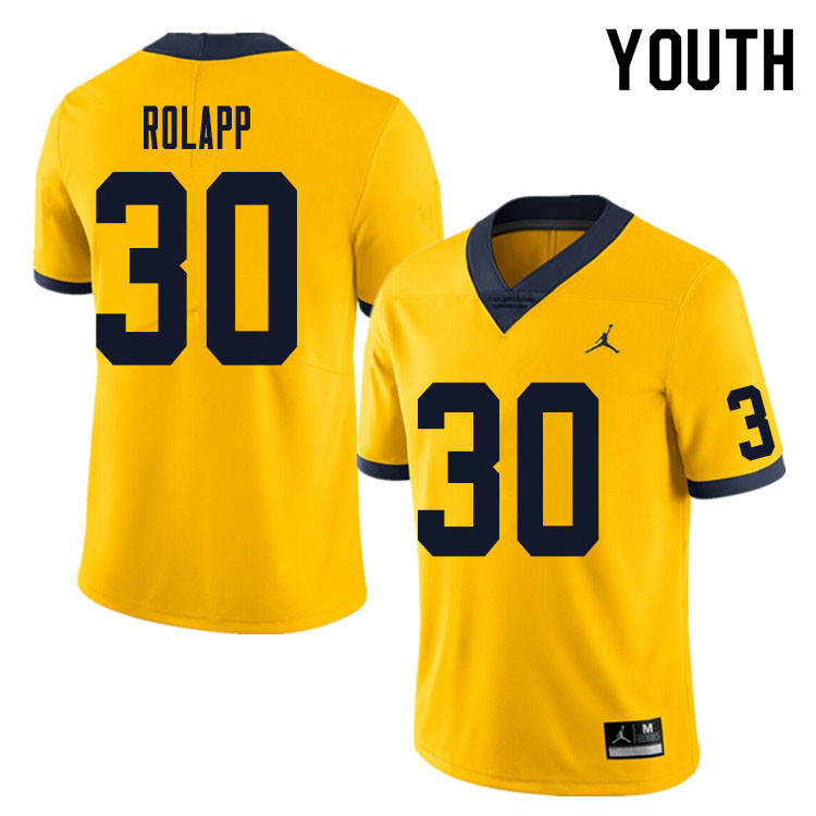 Youth #30 Will Rolapp Michigan Wolverines College Football Jersey Sale-Yellow