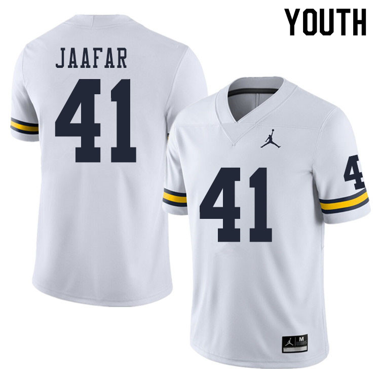 Youth #41 Abe Jaafar Michigan Wolverines College Football Jerseys Sale-White