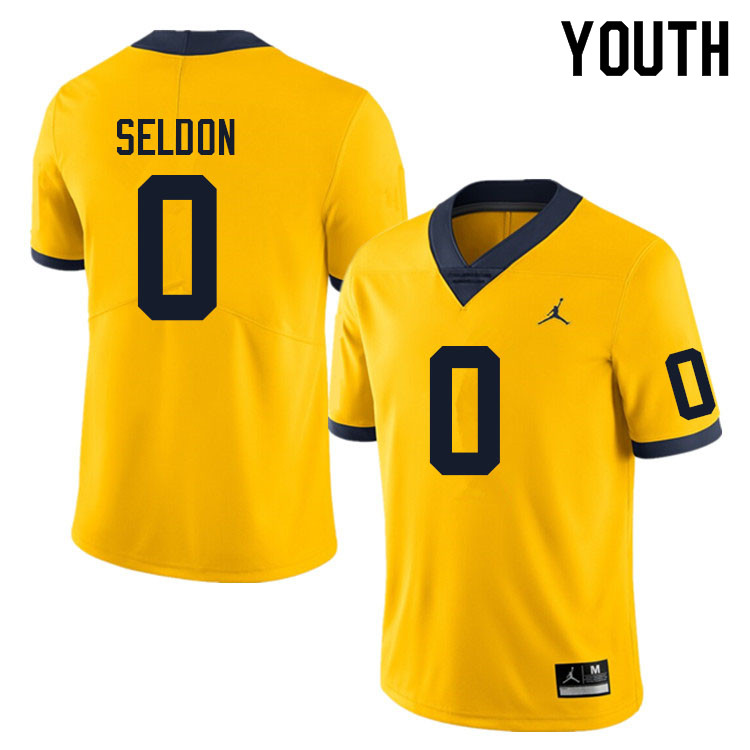 Youth #0 Andre Seldon Michigan Wolverines College Football Jerseys Sale-Yellow