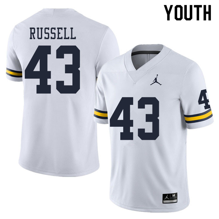 Youth #43 Andrew Russell Michigan Wolverines College Football Jerseys Sale-White