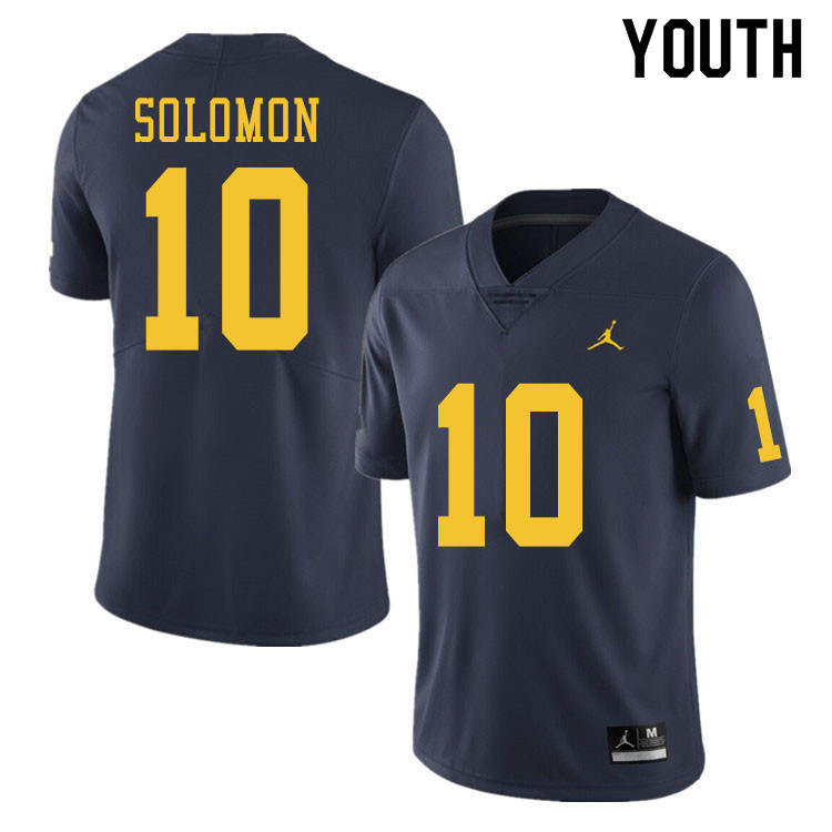 Youth #10 Anthony Solomon Michigan Wolverines College Football Jerseys Sale-Navy