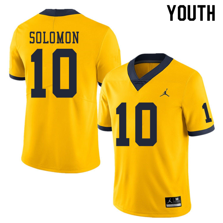 Youth #10 Anthony Solomon Michigan Wolverines College Football Jerseys Sale-Yellow