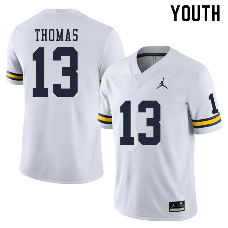 Youth #13 Charles Thomas Michigan Wolverines College Football Jerseys Sale-White
