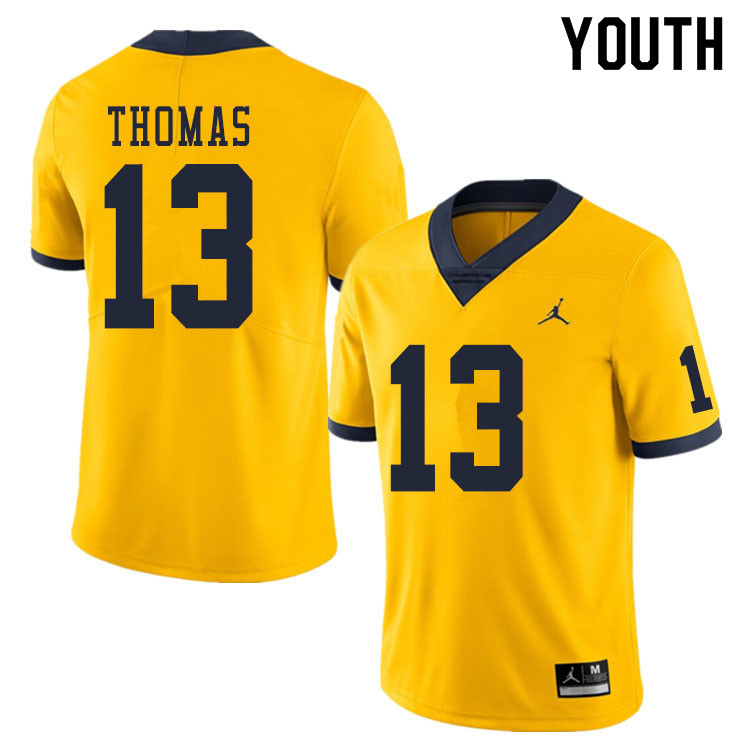 Youth #13 Charles Thomas Michigan Wolverines College Football Jerseys Sale-Yellow
