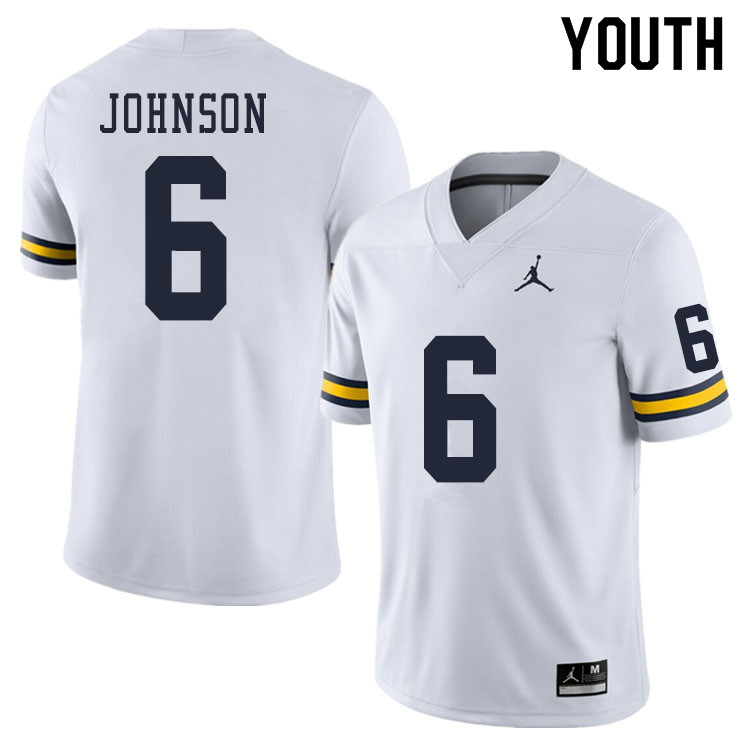 Youth #6 Cornelius Johnson Michigan Wolverines College Football Jerseys Sale-White