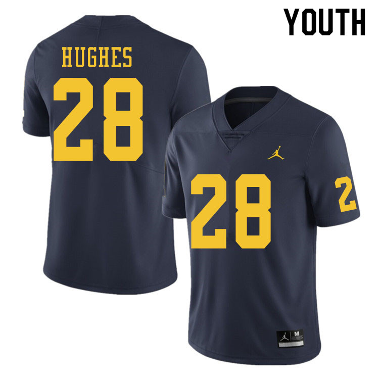 Youth #28 Danny Hughes Michigan Wolverines College Football Jerseys Sale-Navy