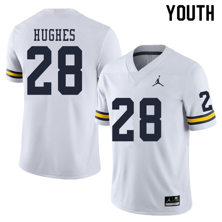 Youth #28 Danny Hughes Michigan Wolverines College Football Jerseys Sale-White