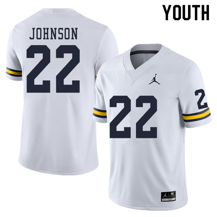 Youth #22 George Johnson Michigan Wolverines College Football Jerseys Sale-White