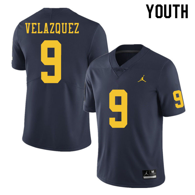 Youth #9 Joey Velazquez Michigan Wolverines College Football Jerseys Sale-Navy