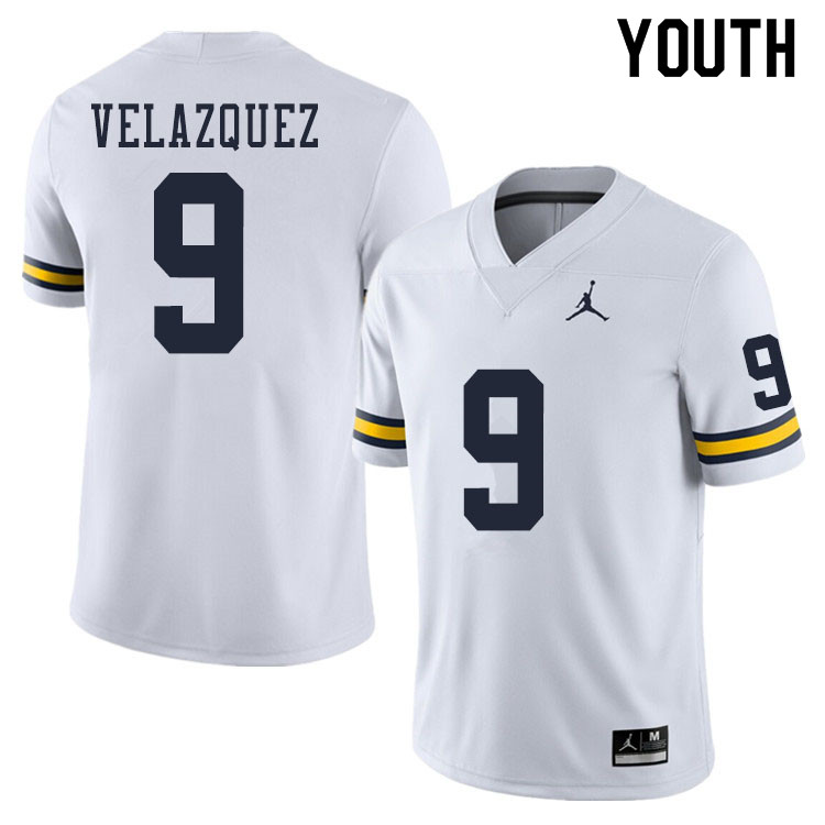Youth #9 Joey Velazquez Michigan Wolverines College Football Jerseys Sale-White