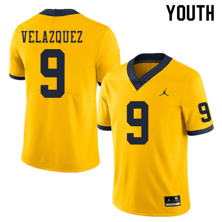Youth #9 Joey Velazquez Michigan Wolverines College Football Jerseys Sale-Yellow